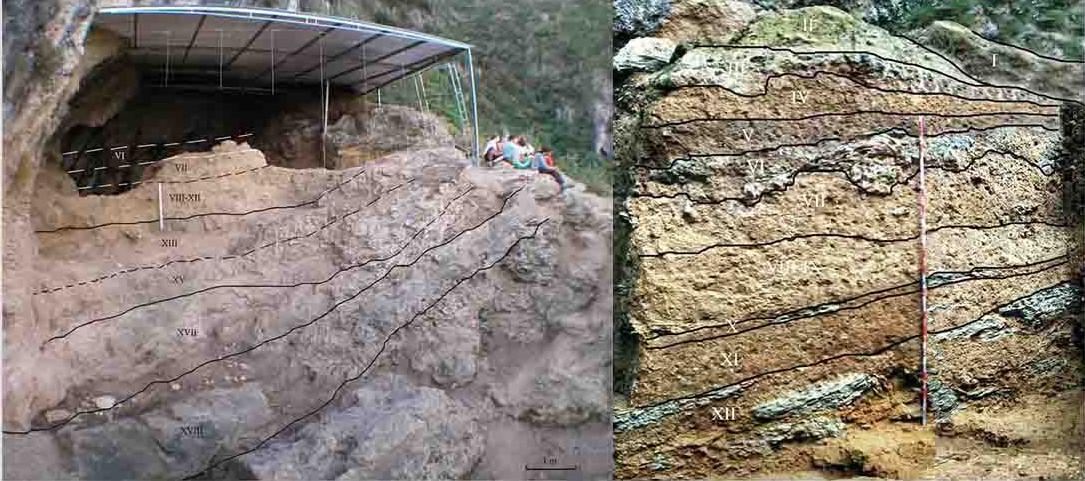 Identificación de los niveles en la estratigrafía del Sector Septentrional y niveles de la estratigrafía del Sector Occidental.