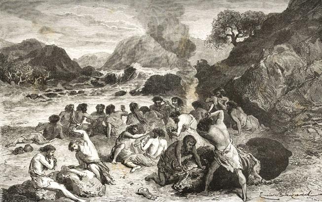 """Representación de un campamento de la """"Edad de Piedra"""", según Louis Figuier en l'Homme primitif 1864."""