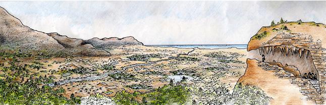 Reconstruccion de Cova del Bolomor con la primera presencia humana en el Pleistoceno medio, hace 350.000 anos.