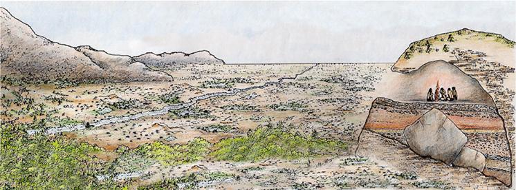 Reconstruccion de La Valldigna y Cova del Bolomor al final del Pleistoceno medio, hace 150.000 anos.