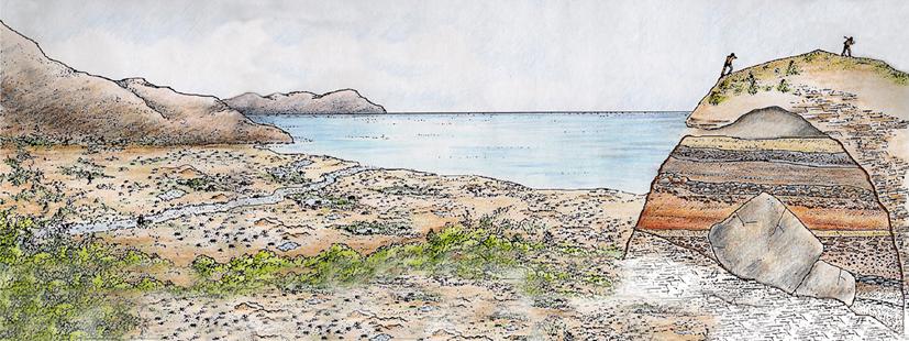 Reconstruccion de La Valldigna y Cova del Bolomor hace 100.000 anos.