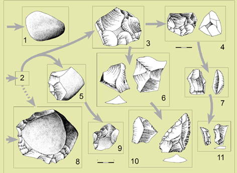 Fases tecnologicas de los niveles VII a XII de Bolomor (180.000-130.000 años).